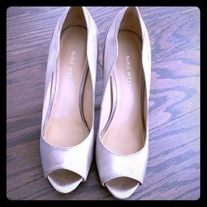 Nine West brown crystal studded, peep toe heels